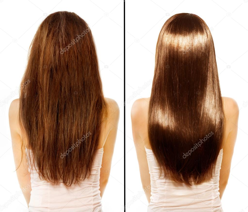 Before and After Damaged Hair Treatment