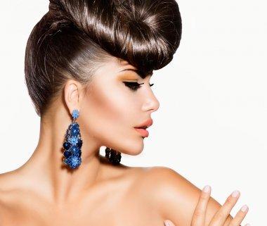 Fashion Model Girl Portrait. Creative Hairstyle