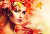 Fotografie Herbst Frau Porträt. Schönheit Mode Model Mädchen