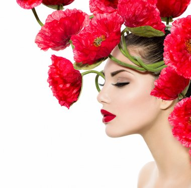 Beauty Fashion Model Woman with Red Poppy Flowers in her Hair stock vector