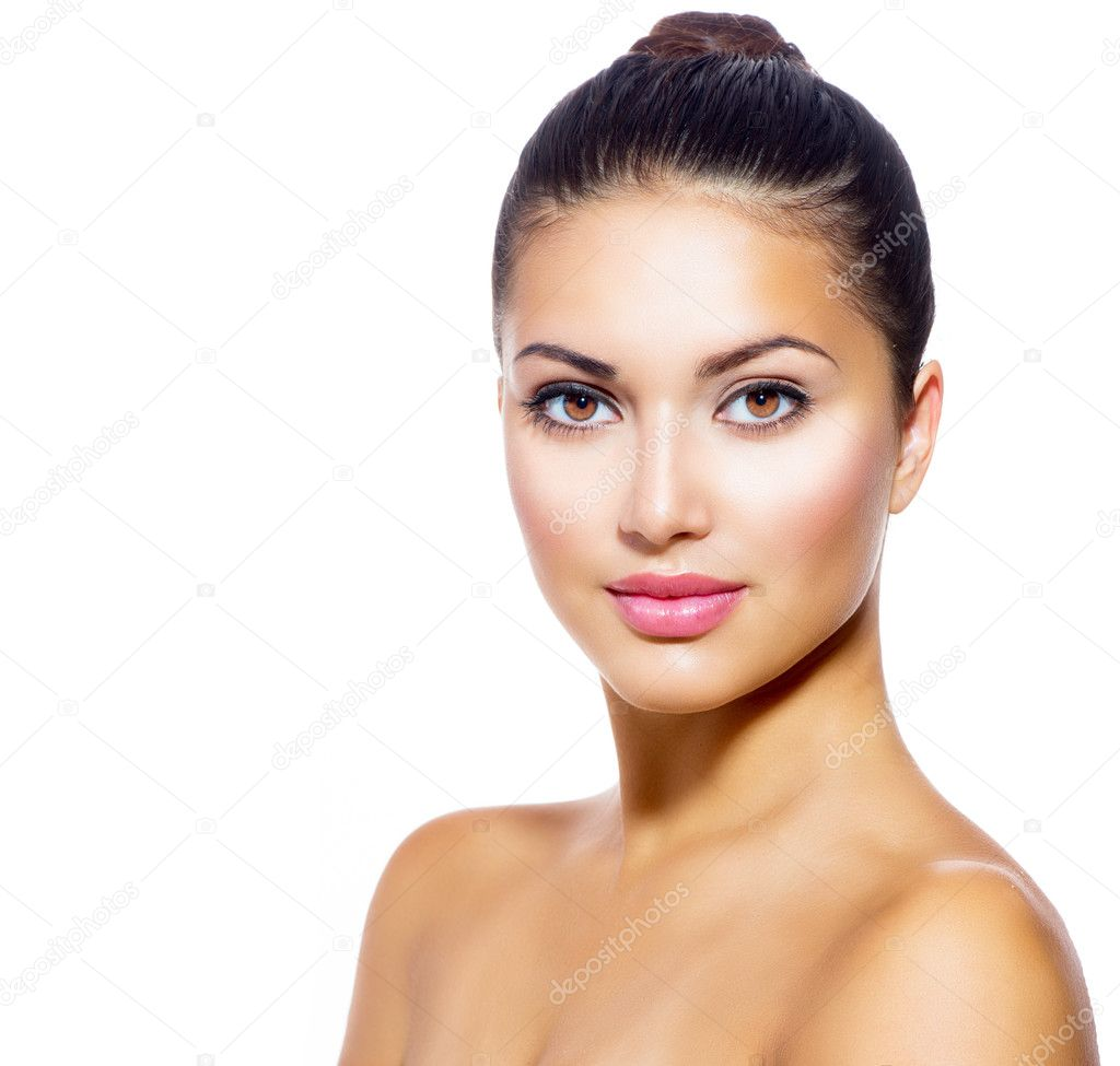 Face of Young Woman with Clean Fresh Skin isolated on white
