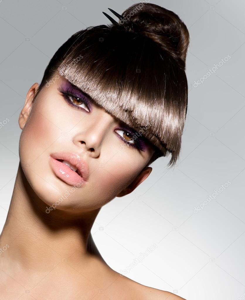 trendy haircut for fringe fashion model with trendy hairstyle stock 6016