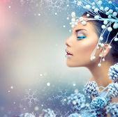 Photo Winter Beauty Woman. Christmas Girl Makeup