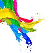 Fotografia colorato vernice spruzzata isolato su bianco. astratto schizzi