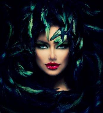 """Картина, постер, плакат, фотообои """"Портрет таинственной женщины. красивая модель женщина лицо крупным планом"""", артикул 36297743"""