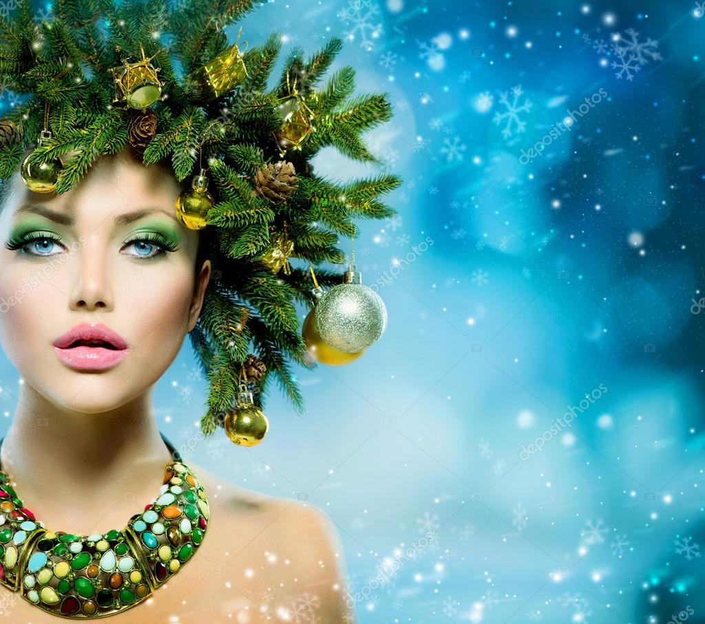 Femme De Noel Maquillage Et Coiffure De Vacances De Sapin De Noel