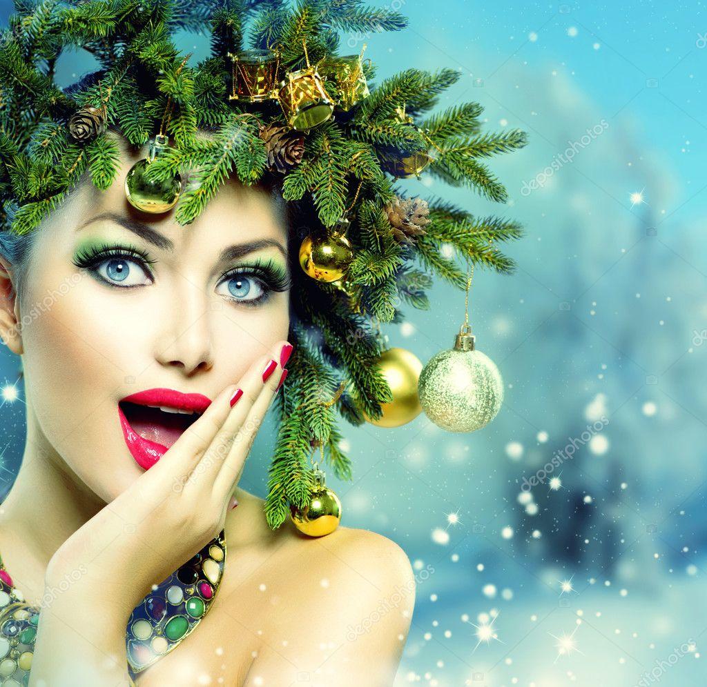 Femme De Noel Maquillage Et Coiffure De Fete De Noel Photographie