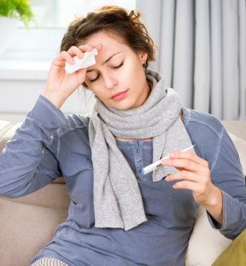 Sick Woman with Thermometer. Flu. Woman Caught Cold