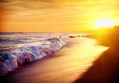 Beautiful Sea Sunset Beach. Mediterranean Sea. Spain