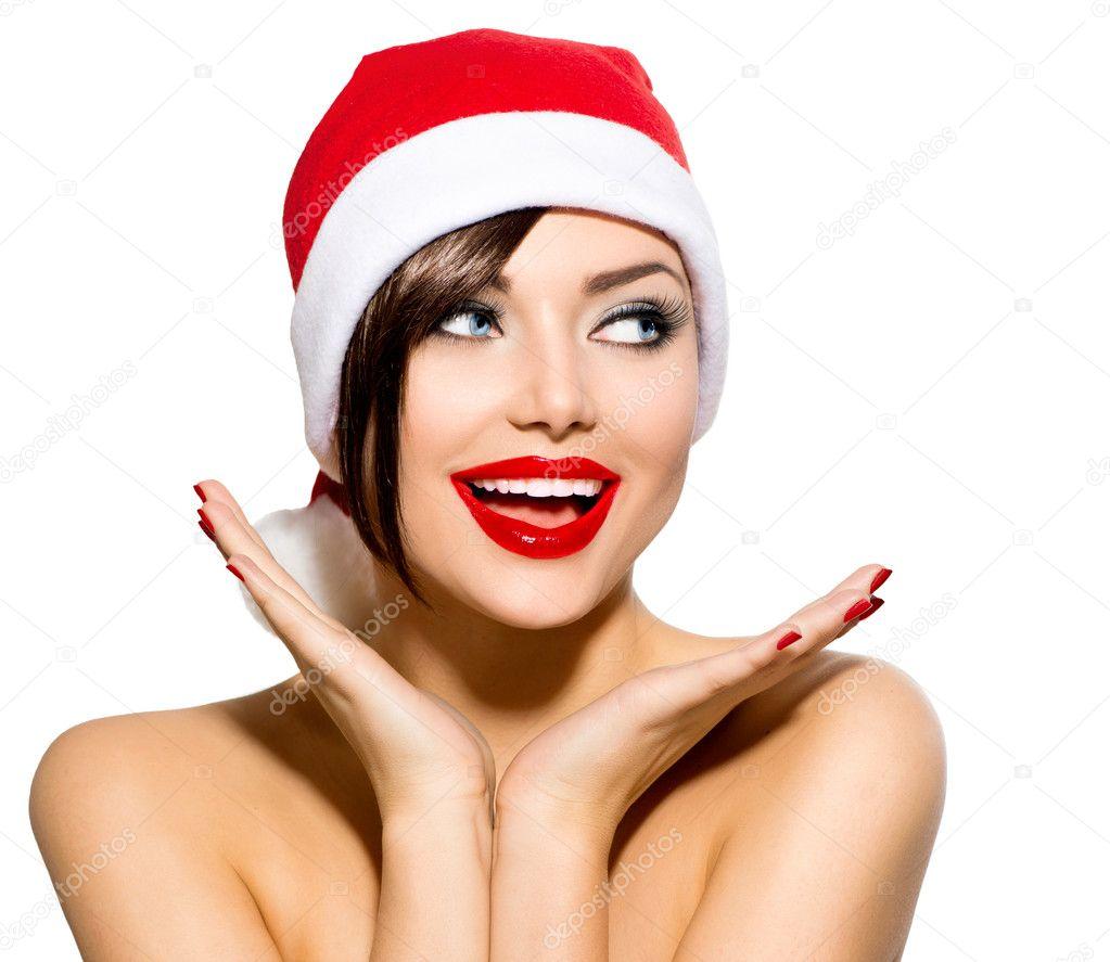 Christmas Woman Beauty Model Girl In Santa Hat Over White