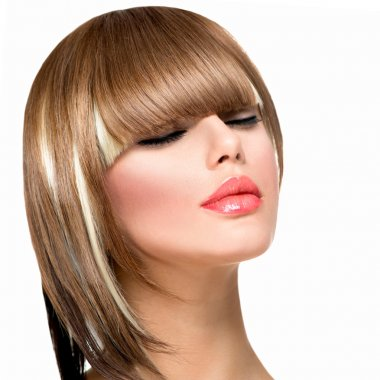 Beautiful Fashion Woman Hairstyle for Short Hair. Fringe Haircut
