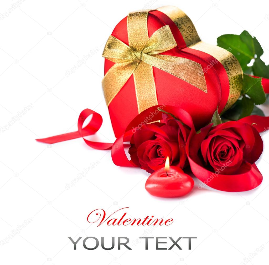 valentine heart shape gift box and red roses bouquet u2014 stock photo