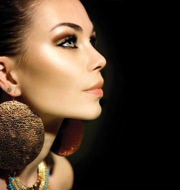 Fashion Woman Profile Portrait isolated on black