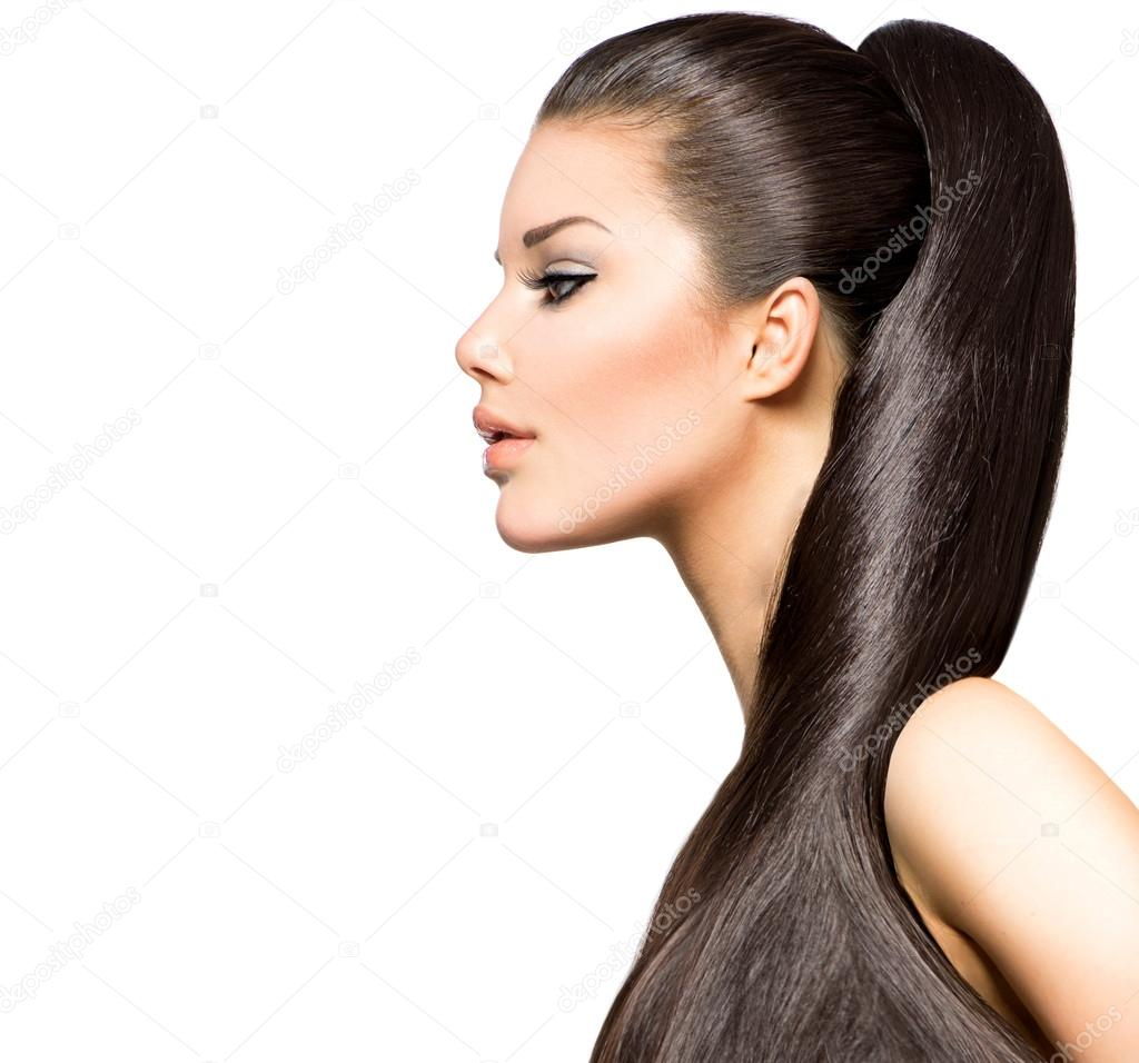 Girl Hairstyle Download Video: Ponytail Hairstyle. Beauty Brunette Fashion Model Girl
