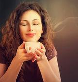 Fotografie Frau mit Kaffee