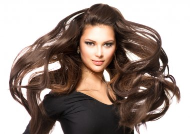 Model with Long Blowing Hair