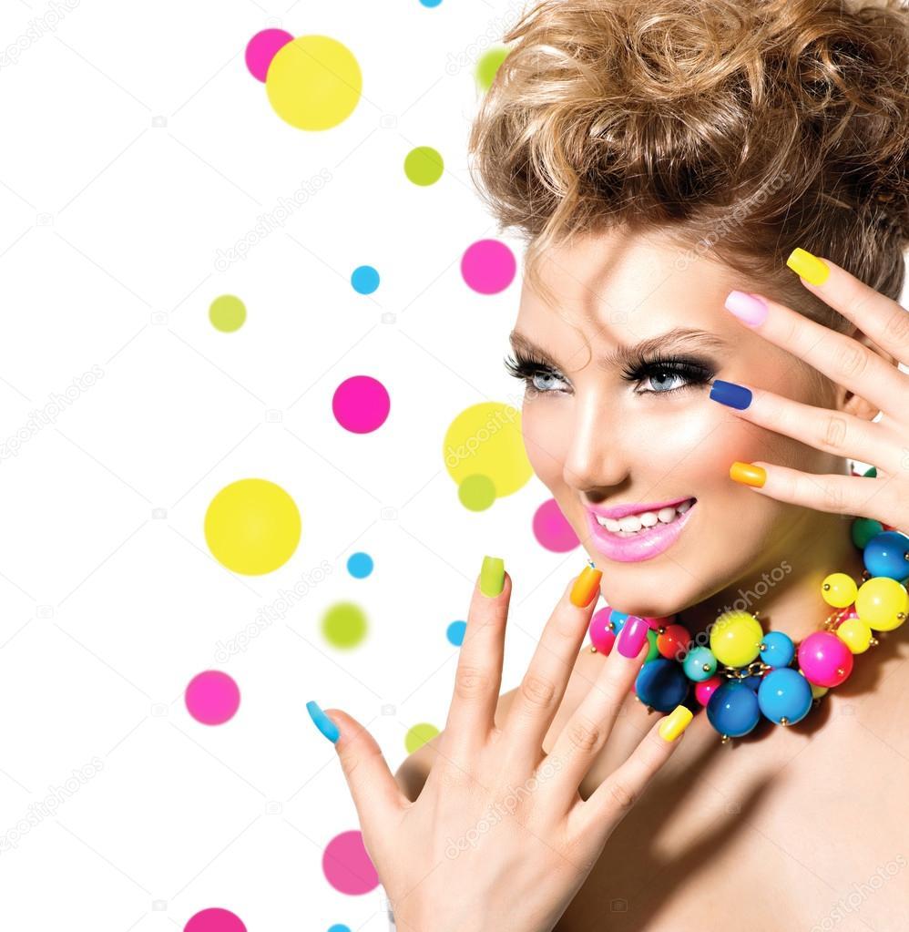 Girl with Colorful Makeup, Nail polish