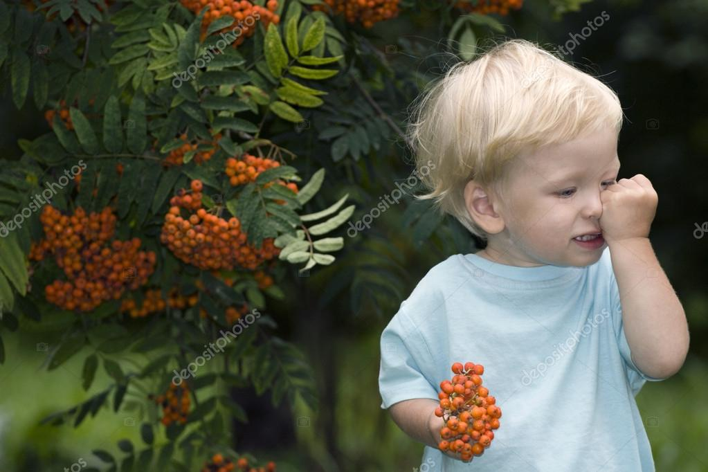 Baby with mountain ash berries