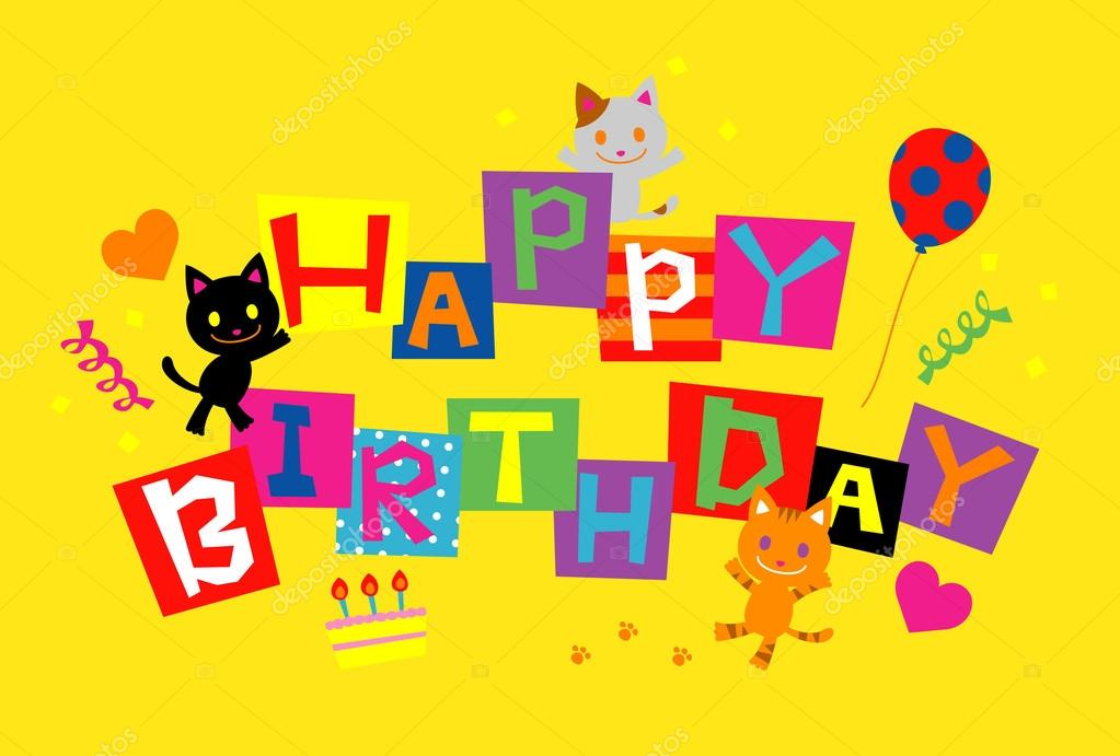 Birthday Card Cats Vector By Niow