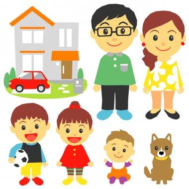 family, children, house, dog, car