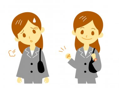 Woman working tired cheer up