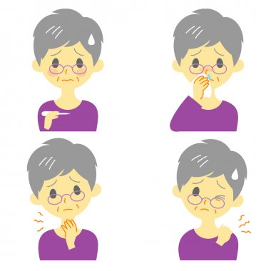 Disease Symptoms 02, fever, sore throat,dripping nose, stiff neck, expressions, old woman