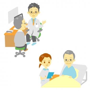See a doctor and in hospital, old man