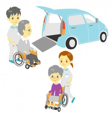 Old in wheelchairs, Adapted Vehicle, carers