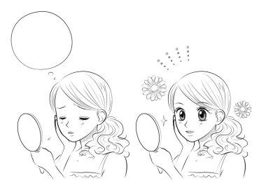 Woman skin care, Japanese Manga style
