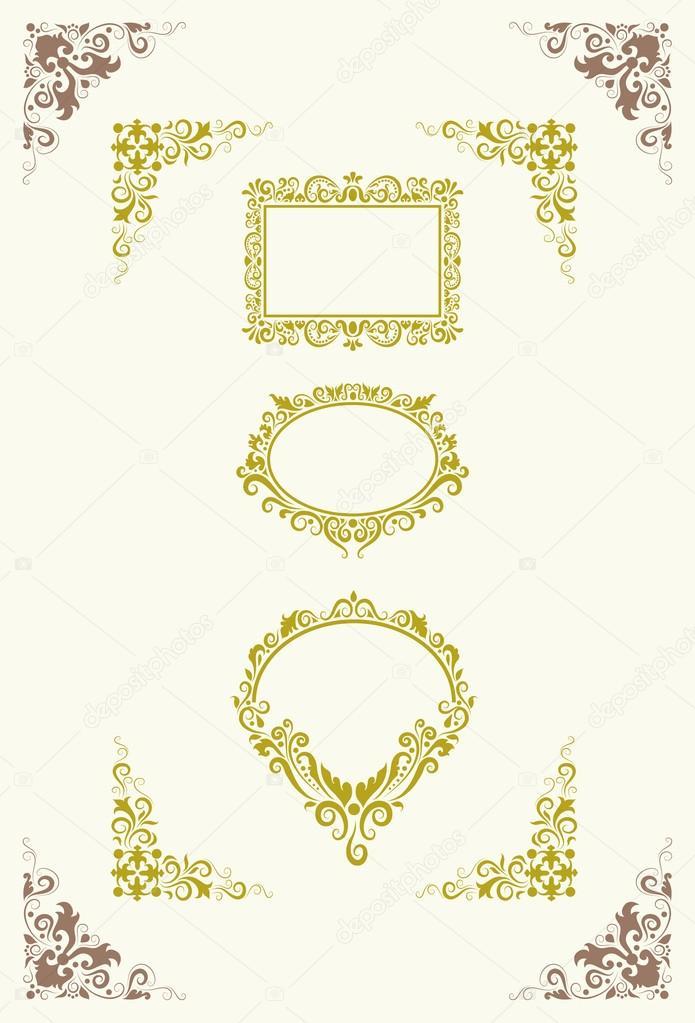 adornos de marco y esquina — Vector de stock © Cundrawan703 #12085188