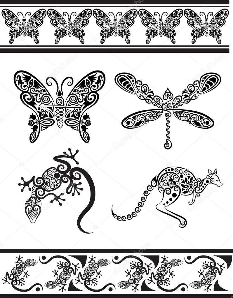 Animal ornaments - Animal Drawing With Floral Ornament Decoration Use For Tattoo T Shirt Or Any Design You Want Vector By Cundrawan703