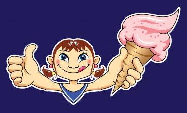 Cute girl and ice cream