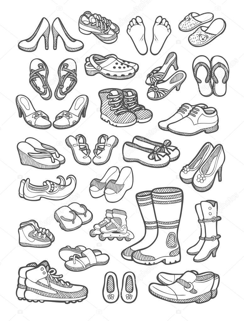 the best attitude 8ac22 34f9a Schuhe-Symbol-Skizze — Stockvektor © Cundrawan703 #46394193