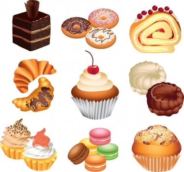 Cakes photo-realistic set