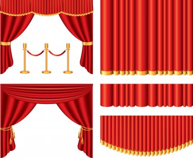 Red theater curtains photo-realistic set