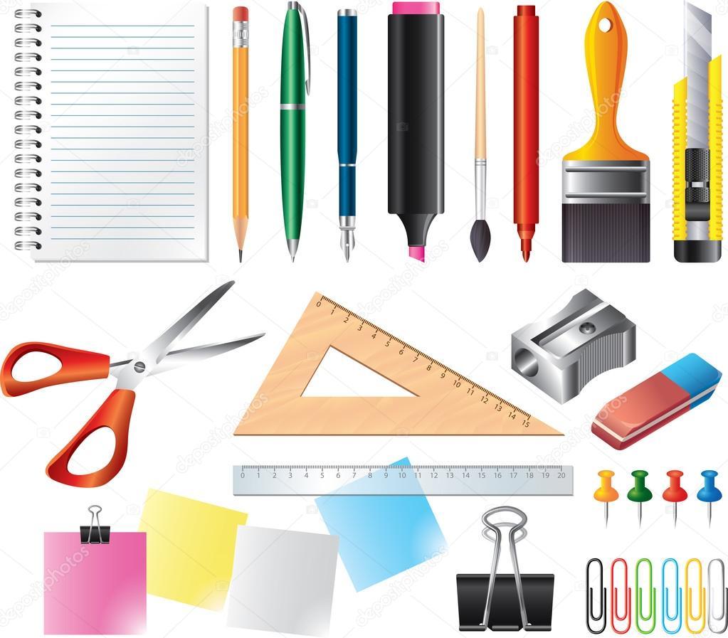 Herramientas de dibujo y oficina foto realista conjunto for Herramientas de oficina