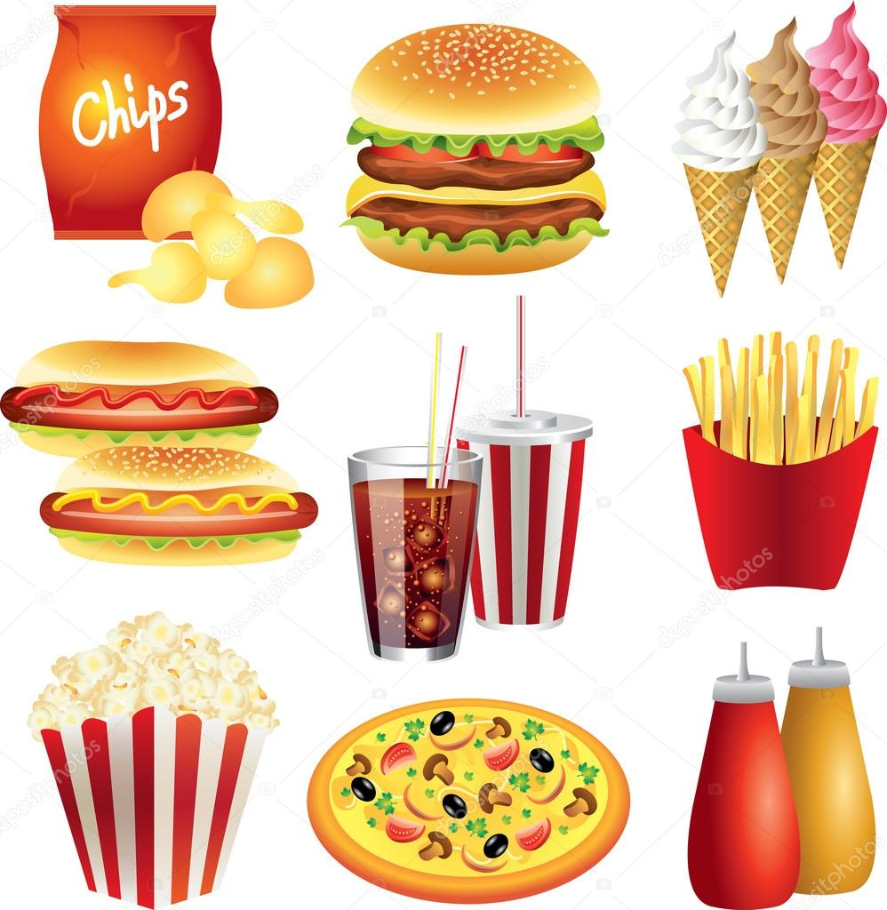Fast food meals photo-realistic set
