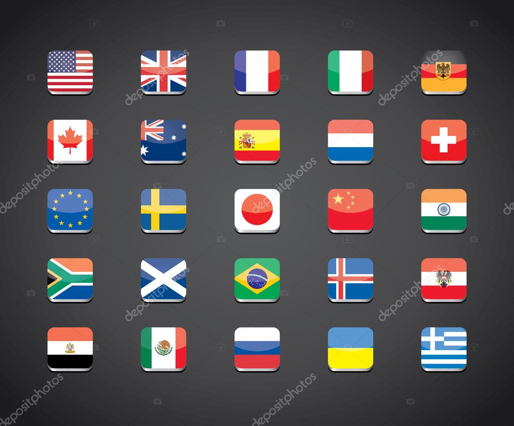 Most popular countries flags icons