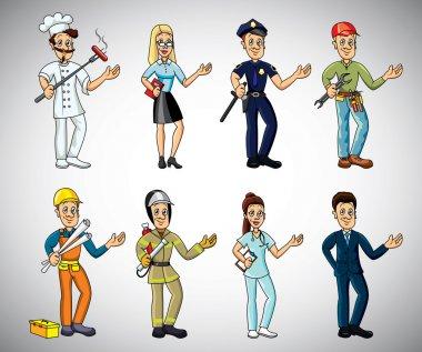 Popular jobs and professions cartoon set