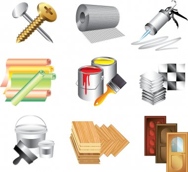 building materials icons detailed set