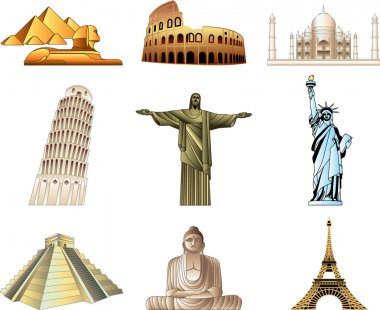 world famous monuments icons detailed set
