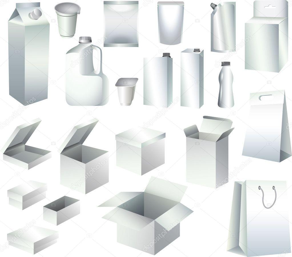 Verpackung Papier-Boxen und Flaschen Vorlagen-fotorealistische Satz ...
