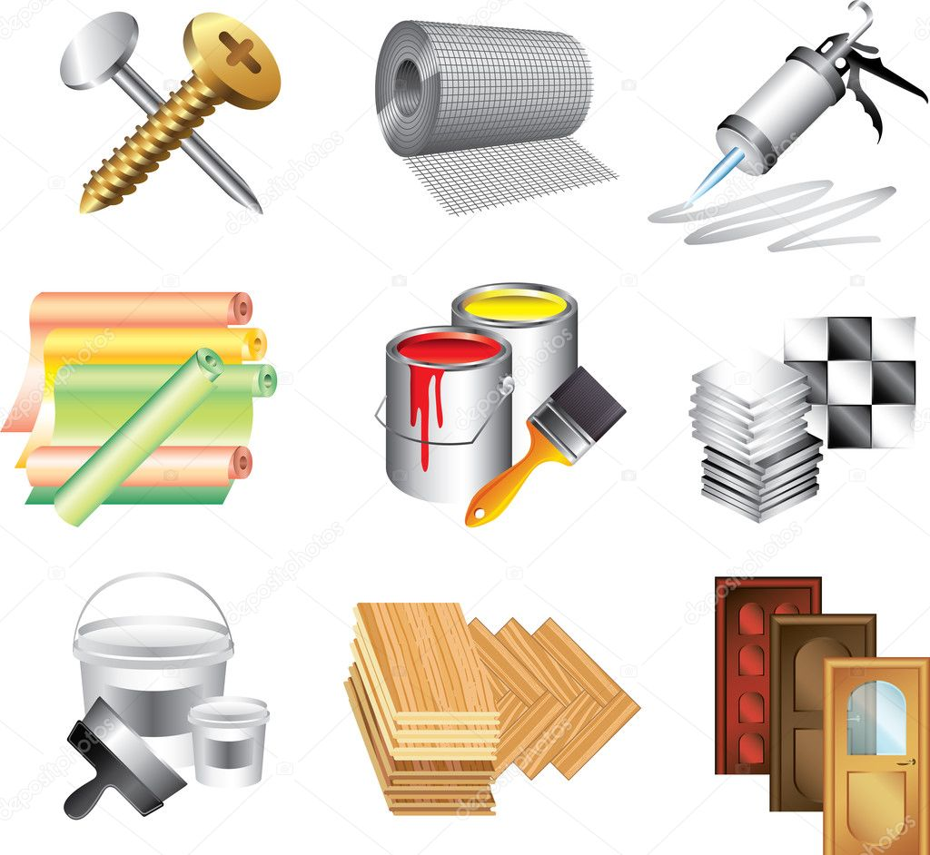 Building Materials Icons Detailed Set Stock Vector