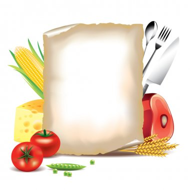 Cooking background, food ingredients and paper