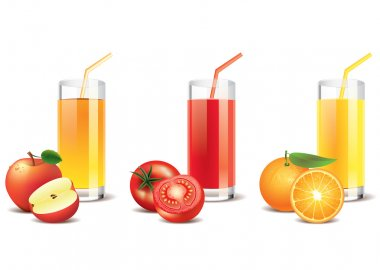 Apple, tomato and orange juice vector