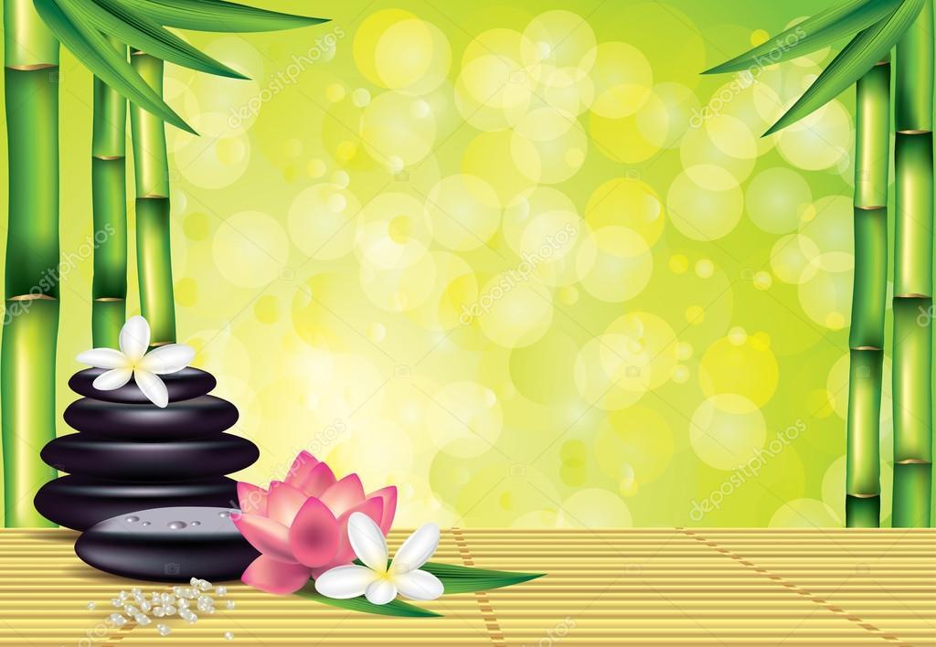 Spa Steine Und Blumen Auf Bambus Hintergrund Stockvektor