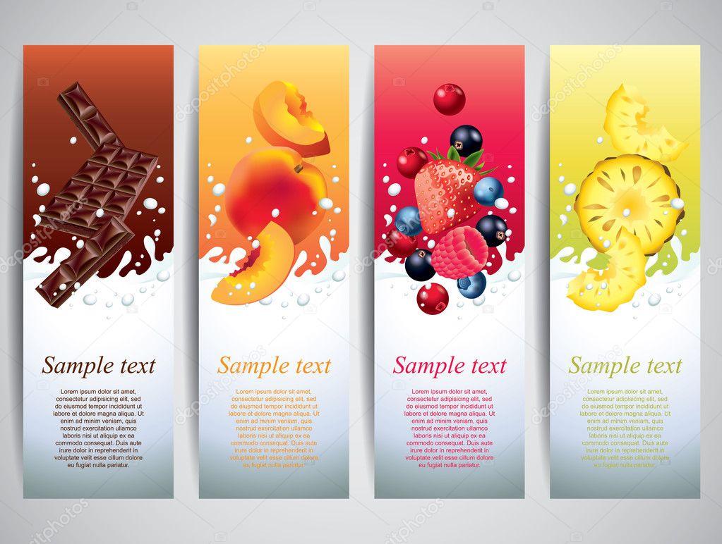 Fruits in milk splashes vector banners