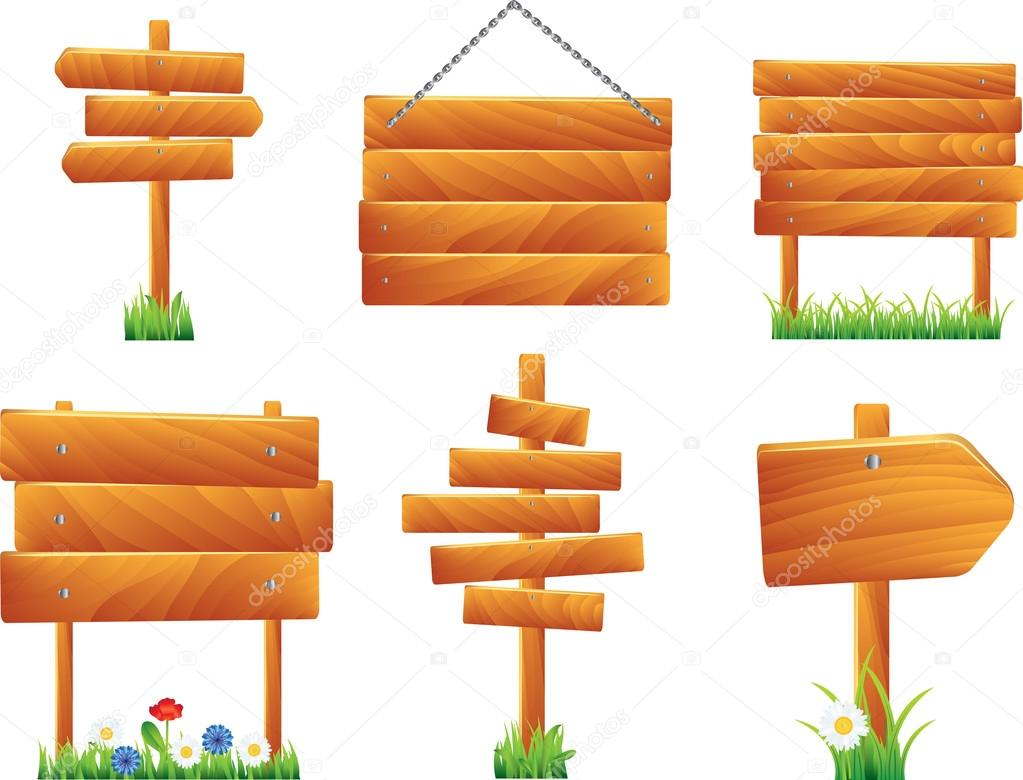 Wooden signs and boards, vector set