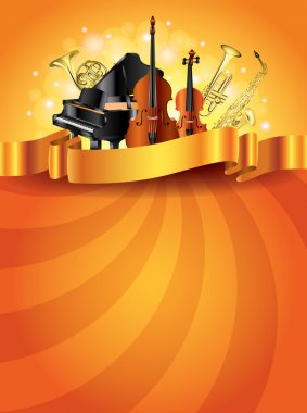 Musical instruments golden vector background