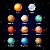 lesklý planety vektorové sada